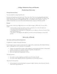 college admissions essay and resume florida state university