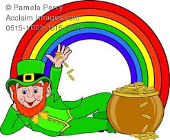 clip art image of a leprechaun with a pot of gold and a rainbow