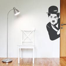on wall art decals with charlie chaplin wall art decal