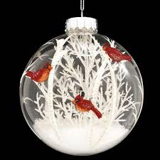 Cardinals Scene With White Tree Glass Ornament. Painted Christmas  OrnamentsChristmas ...