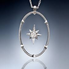 diamond and oval clear sapphire pendant