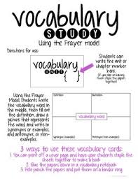 Frayer Model Directions Vocabulary Study Using The Frayer Model