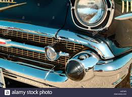 A detail of a black 57 Chevy Belair restored car Stock Photo ...