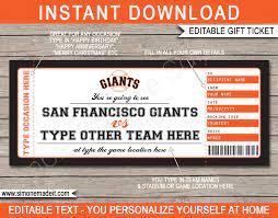 San Francisco Giants Game Ticket Gift ...