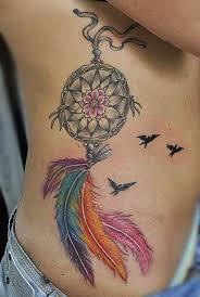 Dream Catcher Tattoo Color 100 Dreamcatcher Tattoos On Ribs 91