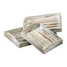cyan design distressed white rectangular tray set of three