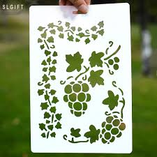 Wall Painting Paper Design Us 1 59 Diy Crafts Grape Design Layering Stencils For Wall Painting Scrapbooking Photo Album Embossing Paper Cards Scrapbooking Tool In Cutting Dies
