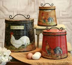 Rustic Kitchen Canister Sets Details About Cottage Rooster Canister Set Shabby French Country