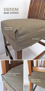 denim seat covers by the slipcover maker makeover for torn leather dining room