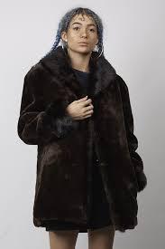 vintage oversized 90 s dark brown faux fur coat