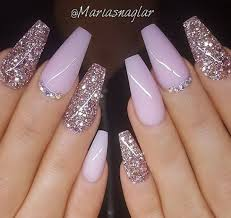 Light Pink Nails With Rhinestones Pin On Nails