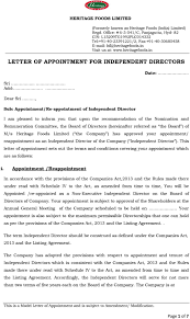 Letter Of Recommendation For Appointment To Board Letter Of Appointment For Independent Directors Pdf