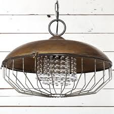industrial metal chandelier with glass crystals