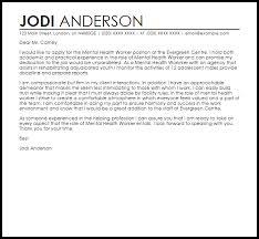 Cover Letter Mental Health Worker Mental Health Worker Cover Letter
