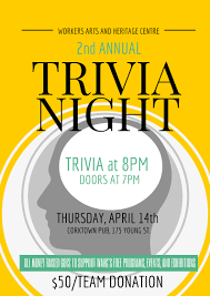 2016 Trivia Night Flyer Workers Arts And Heritage Centre