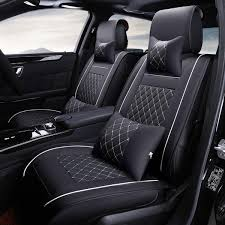7pcs pu leather car seat cover protector with pillow waist cushion set for 5 seat cars universal cod