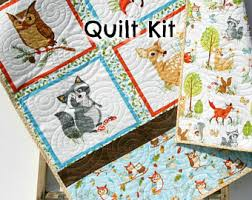 View Baby Quilt Kits by KBlandfordFabrics on Etsy & Woodland Quilt Kit, DIY Project, Forest Fellows Striped Panel Pattern,  Modern Quilt Kit Adamdwight.com