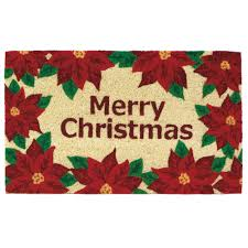 The Holiday Aisle Christmas Poinsettias Welcome Doormat & Reviews ...