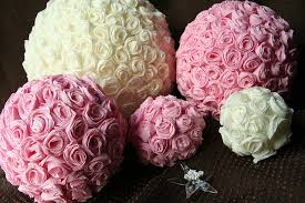 Crepe Paper Flower Balls Crepe Paper Rose Covered Balls Made Roses From The Crepe P
