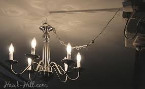 my garage with chandelier lighting