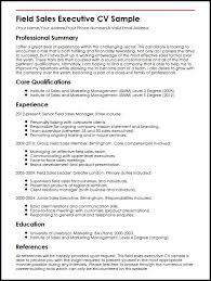 Presentation Resumes Field Sales Executive Cv Sample Myperfectcv