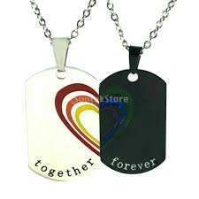 2 pieces stainless steel rainbow puzzle heart pendant necklace 11street malaysia necklaces pendants