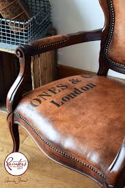 can you believe that this stunning leather look chair actually started life like the picture below with the help of a little chalk paint and clear and