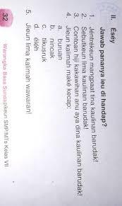 Kunci jawaban rancage diajar basa sunda kelas 5 gratis warangka basa sunda sd mi kelas 6 k13. Bahasa Sunda Kelas 7 Halaman 32 Essay Brainly Co Id