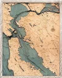 San Francisco Bay Area 3 D Nautical Wood Chart 24 5 X 31 Rustic Farm Frame