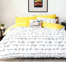 letter printing bedding sets duvet cover set bed linen ru usa sizequilt cover bed yellow grey