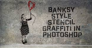 on how to create wall art in photoshop with banksy style stencil graffiti effect in photoshop