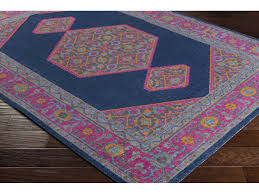 surya tessera rectangular navy pink burnt orange area rug