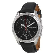 michael kors men women watches on the watches men co on michael kors accelerator chronograph black dial black leather men s watch mk8384 the watches men