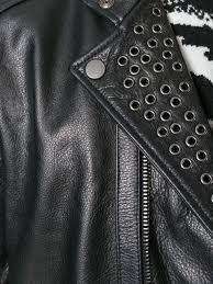 sel black gold stud detail zip up jacket