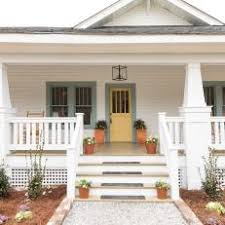white craftsman front door. White Craftsman Home Exterior With Green Trim And Yellow Front Door D
