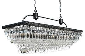 weston rectangular glass drop crystal chandelier antique silver finish 40