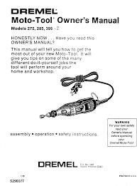 Dremel Speed Chart Dremel Moto Tool 275 Users Manual