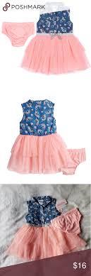 Little Lass Rainbow Chambray Tulle Dress Nwt 18m Little Lass