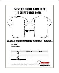 Great Free T Shirt Order Form Template Microsoft Word