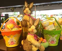 straw bunny rabbits with a wooden push cart and felt pails make great gifts or decorations