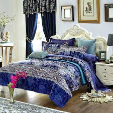 moroccan bedding set style print blue duvet cover set high quality cotton jacquard queen king size