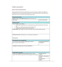 Incident Report Template Employee Police Generic Template