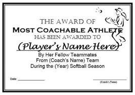 softball award certificate softball awards certificates nomination ballots 9 different awards