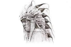 Plakát Tattoo Náčrtek Indiánské Indiánský Bojovník Ruční
