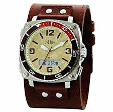 fat face mens analogue and digital brown leather cuff watch fat face mens analogue and digital brown leather cuff watch