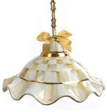 fluted hanging lamp parchment check mackenzie childs