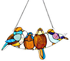 8 stained glass bird window panel