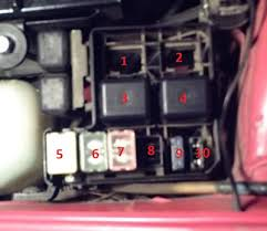 fuse boxes top picture main fuse block 1 air conditioning relay 2 air conditioning relay 3 fuel pump relay 4 fuel injection relay