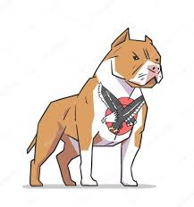 Isolated Illustration Of American Pit Bull Terrier Standing Guard