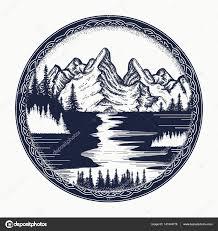 Hory A řeky Krajina Tetování Symbol Turistika Cestování Stock